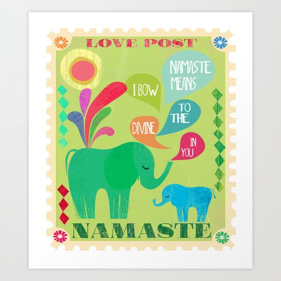 Namaste-Love Post Art Print