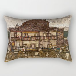 """Egon Schiele """"House with Shingle Roof (Old House II)"""" Rectangular Pillow"""