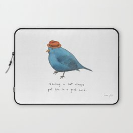 wearing a hat always put him in a good mood Laptop Sleeve