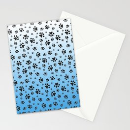Paw Prints Light Blue White Gradient Stationery Cards