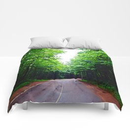 Winding Road in Forest Comforters