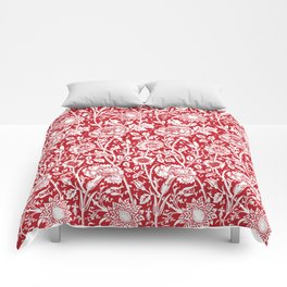 """William Morris Floral Pattern   """"Pink and Rose"""" in Red and White Comforters"""