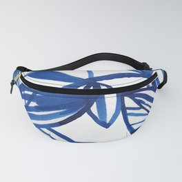 Navy blue and lime green abstract leaves Fanny Pack