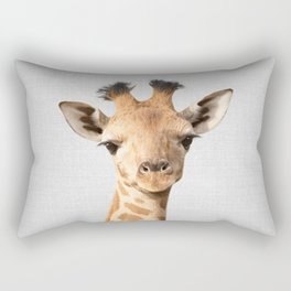 Baby Giraffe - Colorful Rectangular Pillow