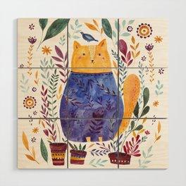 Watercolor cat Wood Wall Art