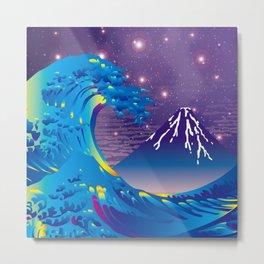 Hokusai Great Wave & Mt. Fuji under the Stars Metal Print