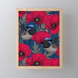 Fairy wren and poppies Framed Mini Art Print