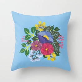 January Florals on Blue Throw Pillow