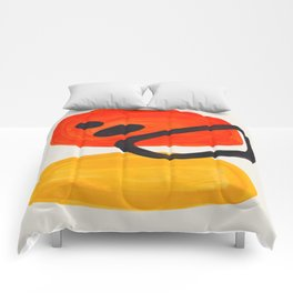 Colorful Mid Century Modern Abstract Fun Shapes Patterns Space Age Orange Yellow Orbit Bubbles Comforters