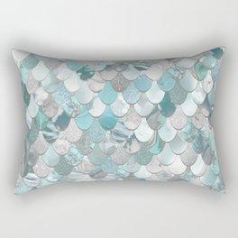 Mermaid Aqua and Grey Rectangular Pillow