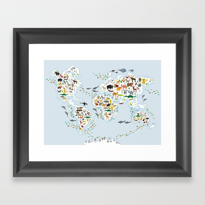 Cartoon animal world map for children and kids, Animals from all over the world, back to school Gerahmter Kunstdruck