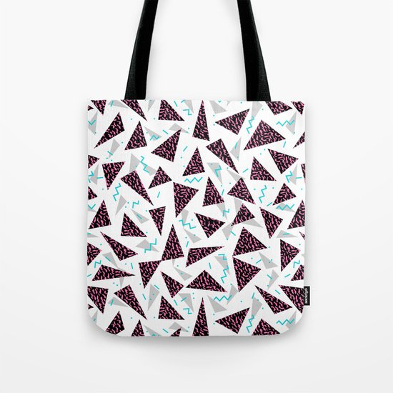 Trendy 80's style geometric triangle retro cool neon pattern art print affordable college dorm decor Tote Bag