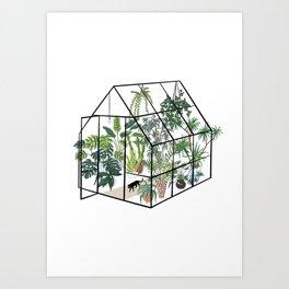 greenhouse with plants Art Print