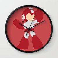 mega man Wall Clocks featuring Mega Man(Smash)Red by ejgomez