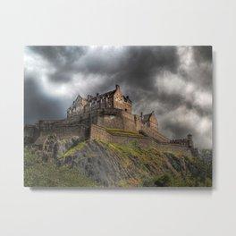 Rain Clouds Over Edinburgh Castle Metal Print