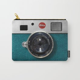 Blue Teal retro vintage camera with germany lens Carry-All Pouch