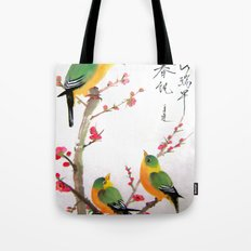 green bird chatting Tote Bag