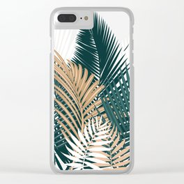 Gold and Green Palm Leaves Clear iPhone Case