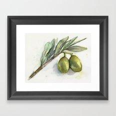 Olive Branch | Green Olives | Watercolor Illustration Framed Art Print