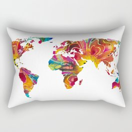 Map of The World 2 -Colorful Abstract Art Rectangular Pillow