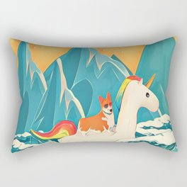 Corgi and the rainbow unicorn Rectangular Pillow