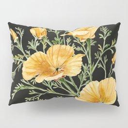 California Poppies on Charcoal Black Pillow Sham
