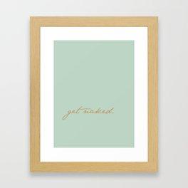 Get Naked. Gold on Seafoam Framed Art Print
