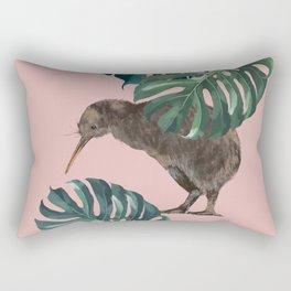Kiwi Bird with Monstera in Pink Rectangular Pillow