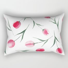 Red Tulips Watercolour Pattern Rectangular Pillow