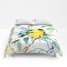 American Goldfinch, yellow sage green birds and flowers Comforters