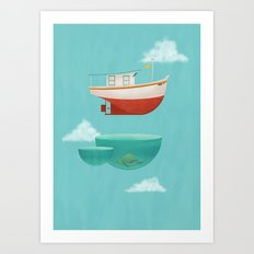 Floating Boat Art Print