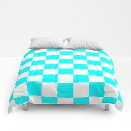Checkered - White and Aqua Cyan Comforters