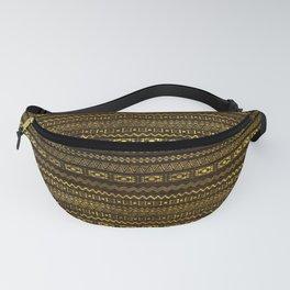 Golden Tribal Pattern on Dark wood Fanny Pack