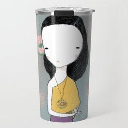Girl with water lilies Travel Mug