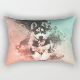 Husky Abstract Watercolor Painting Rectangular Pillow