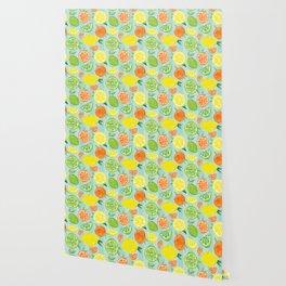 Zesty Citrus Pattern Wallpaper