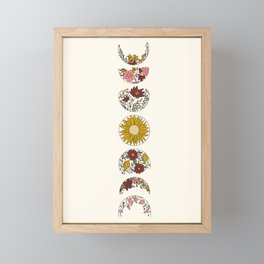 Floral Phases of the Moon Framed Mini Art Print