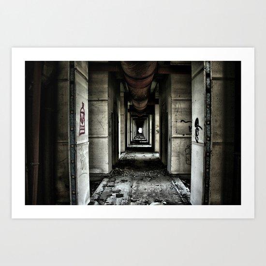 abandoned graffiti corridor Art Print