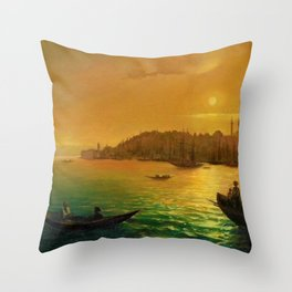 View of Constantinople by Moonlight by Ivan Aivazovsky Throw Pillow
