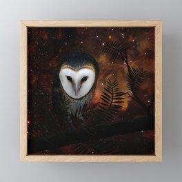 Barn owl at night Framed Mini Art Print