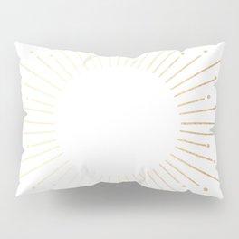 Sunburst Gold Copper Bronze on White Pillow Sham