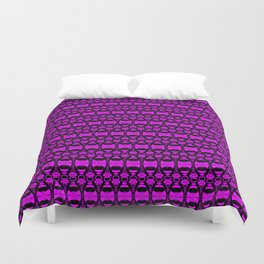Dividers 02 in Purple over Black Duvet Cover