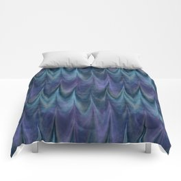 Blue Abstract Feather Pattern Comforters