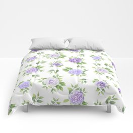 Hand painted lavender violet green watercolor floral Comforters