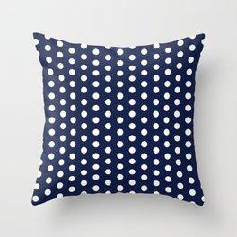 Navy Blue Polka Dot Throw Pillow