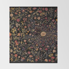 Medieval Flowers on Black Throw Blanket
