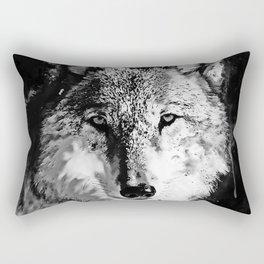 wolf splatter watercolor black white Rectangular Pillow
