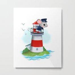 Lighthouse Mouse Metal Print