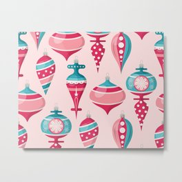 Candy Colored Christmas Ornaments Metal Print