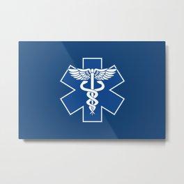 EMT EMS Health Care Caduceus Blue Star of Life Medical Symbol Metal Print